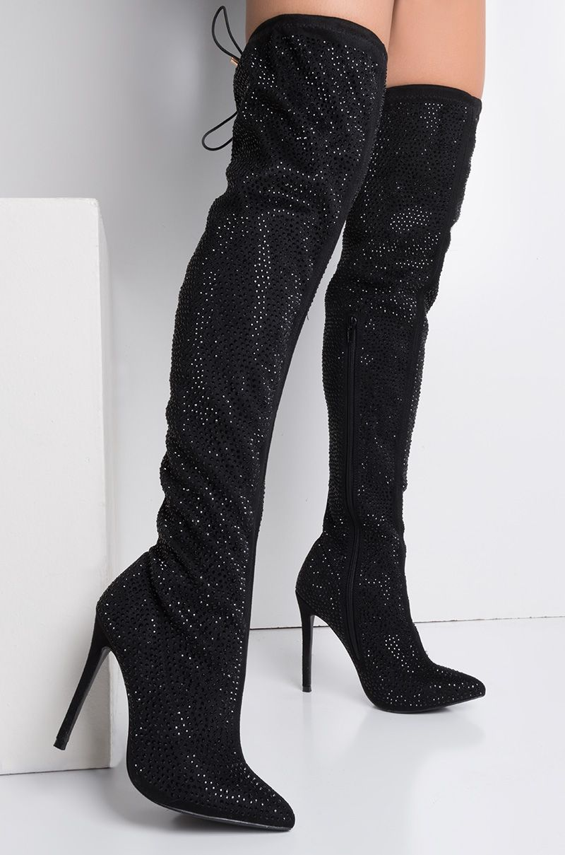 7e981f16d48 AKIRA Thigh High Zip Up Pointed Toe Rhinestone Sparkly Stiletto Boots in  Black Glitter