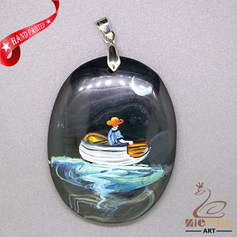 Hand Painted Boat  Pendant Necklace Gemstone With Silver Bail  ZL807240 #ZL #Pendant