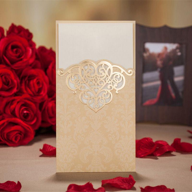 100pcs Gold /Red Hollow Laser Cut Wedding Invitation Card ...