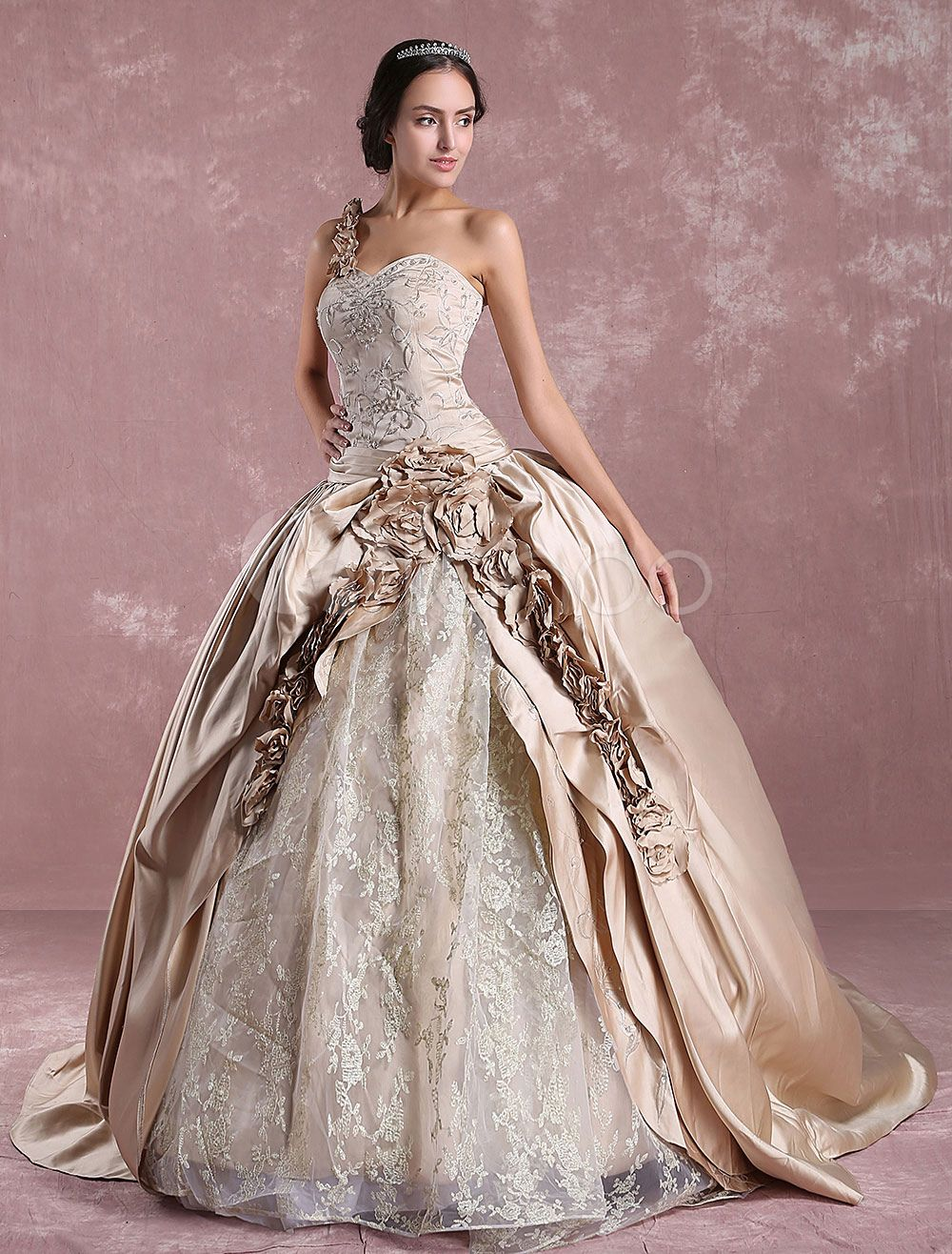 27 dresses wedding dress  Princess Wedding Dresses Champagne Victoria Bridal Gown One Shoulder