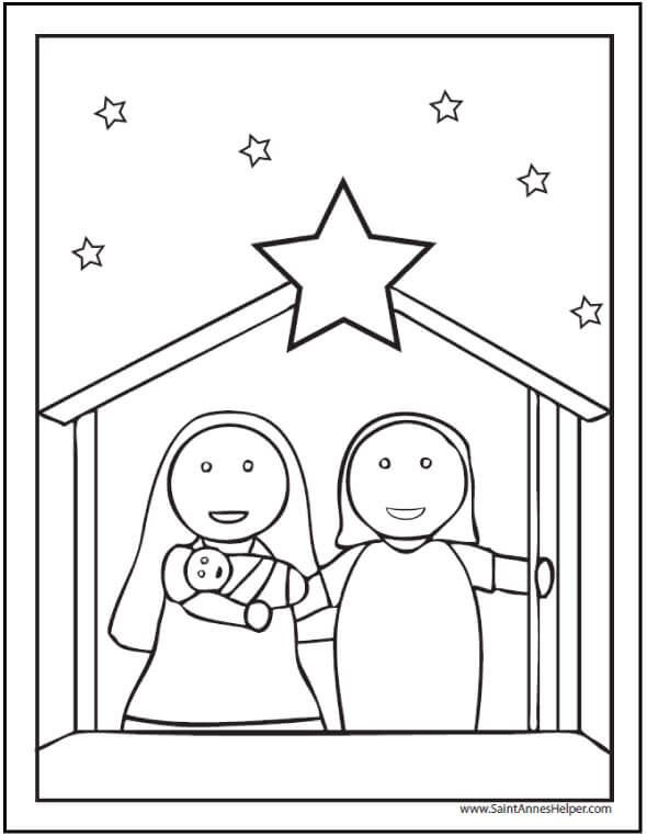 15+ Printable Christmas Coloring Pages: Jesus & Mary, Nativity ...