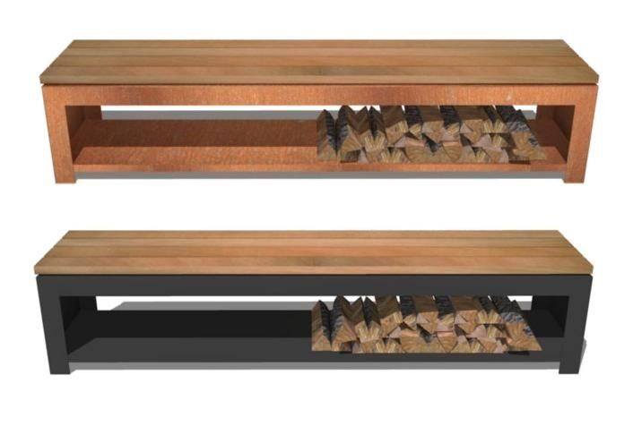 Super Bench With Log Storage In Corten Steel With Wooden Seat For Camellatalisay Diy Chair Ideas Camellatalisaycom