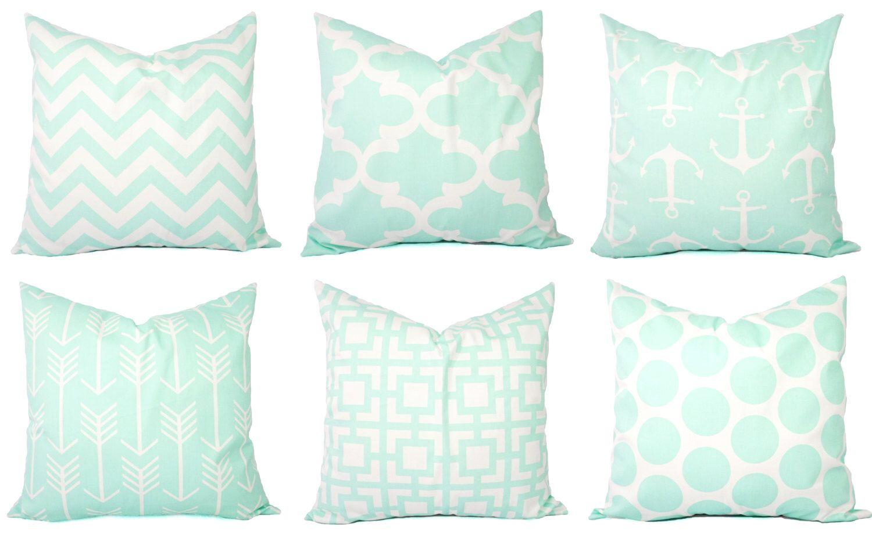 Mint Pillow Covers - Mint Throw Pillows - 11 x 11 Inch Pillow