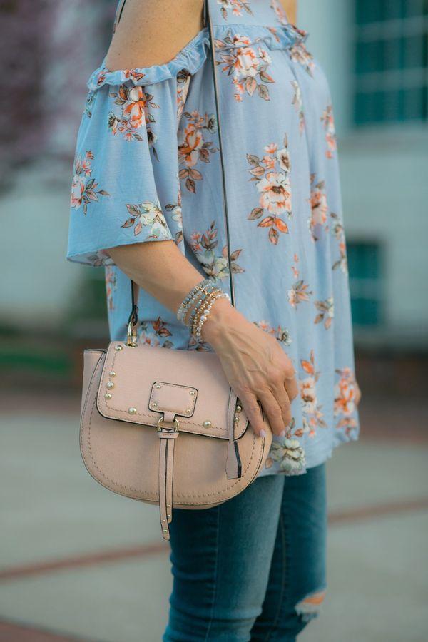 Floral Cold Shoulder Top + Wedge Heel + Handbag