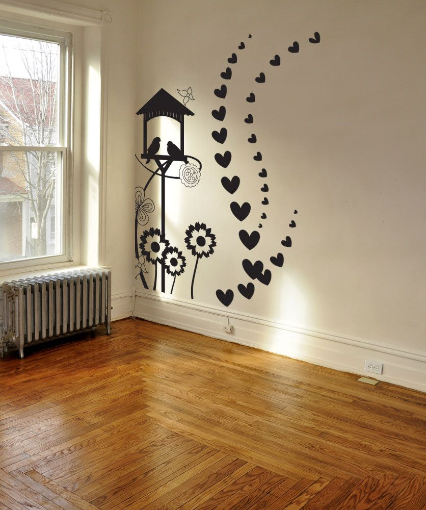 Birdhouse Wall Decal Flowers And Hearts Design Laundry Room Nursery Bedroom Living Room Home Decor 1036 Diy Wall Painting Wall Painting Decor Simple Wall Paintings