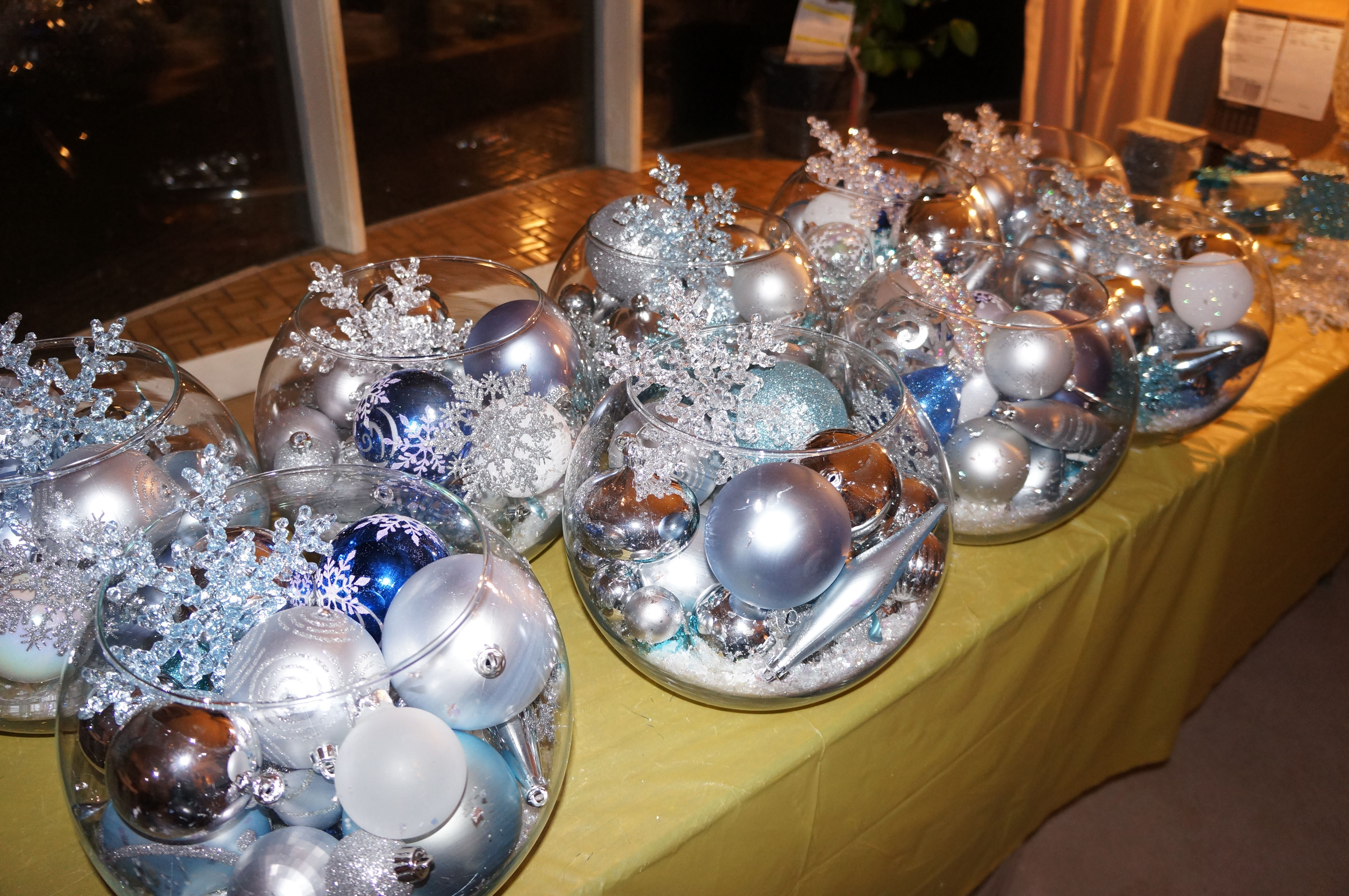 Winter Wedding Centerpieces- Bowls Of Ornaments Topped