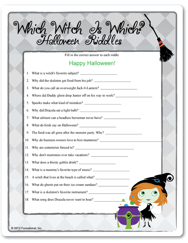 Printable Which Witch Is Halloween Riddles School Party in
