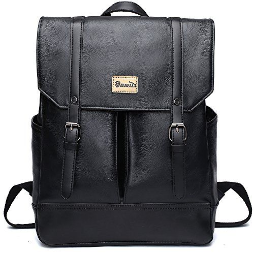 e9caae30dc8c Zebella Unisex Vintage PU Leather Backpack Laptop School ...