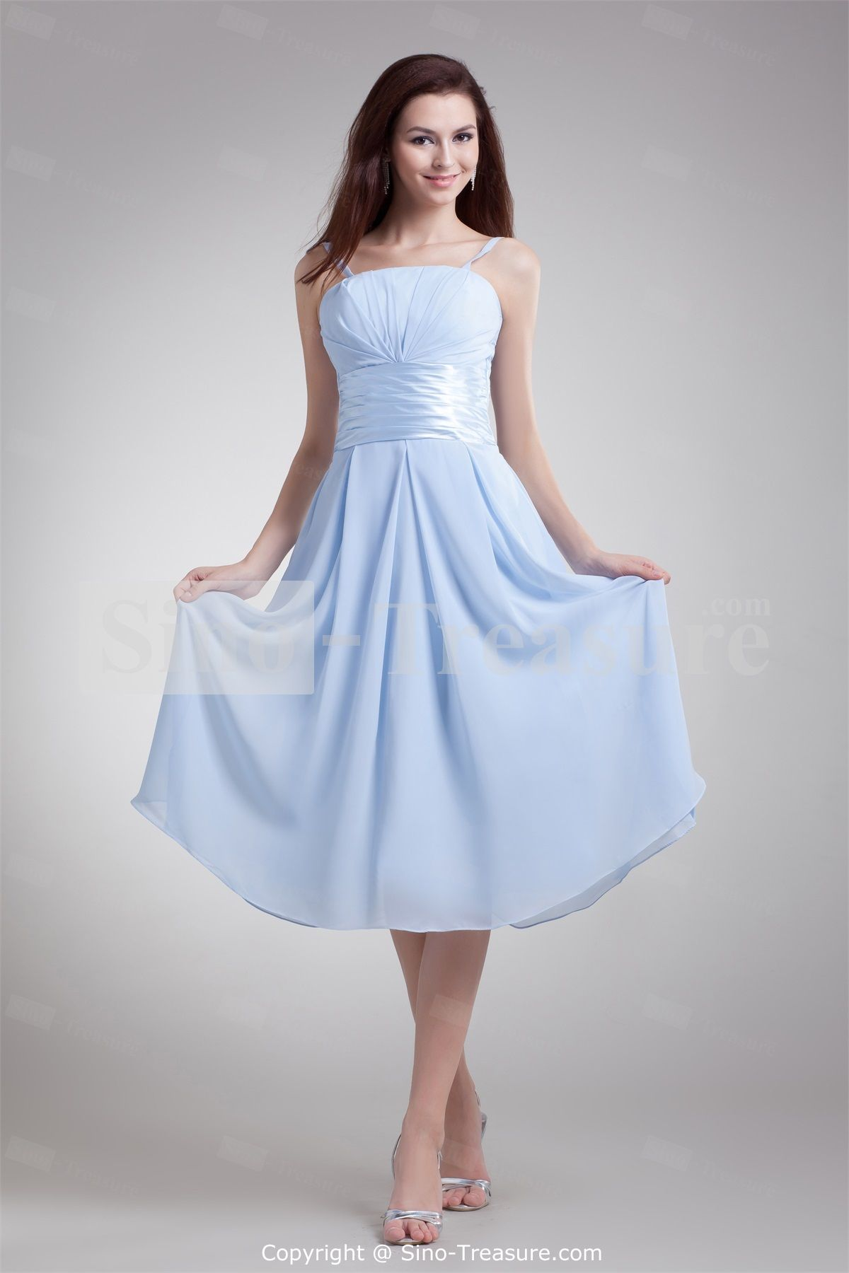 Light sky blue bridesmaid dresses ocodea bridesmaid dresses quinceanera dresseshomecoming dressesbridesmaid dressesprom dresses a line spaghetti straps sleeveless empire zipper tea length chiffon ruching ombrellifo Images
