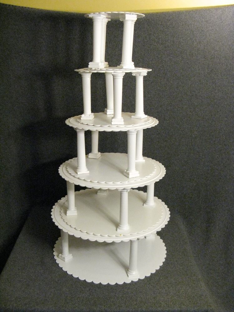 Vintage Wilton Wedding Cake Stand Scallop Plates Pillars Columns 14 12 10 8 6 4 & Vintage Wilton Wedding Cake Stand Scallop Plates Pillars Columns 14 ...