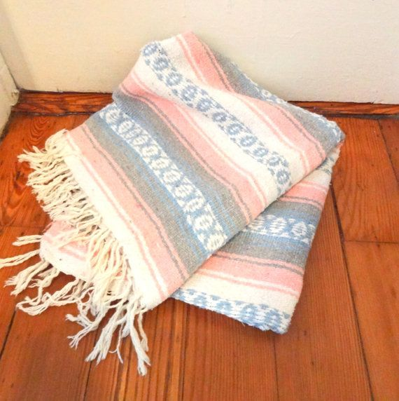 Mexican Beach Blanket: Pastel Mexican Throw/ South West Festival Blanket/Rug