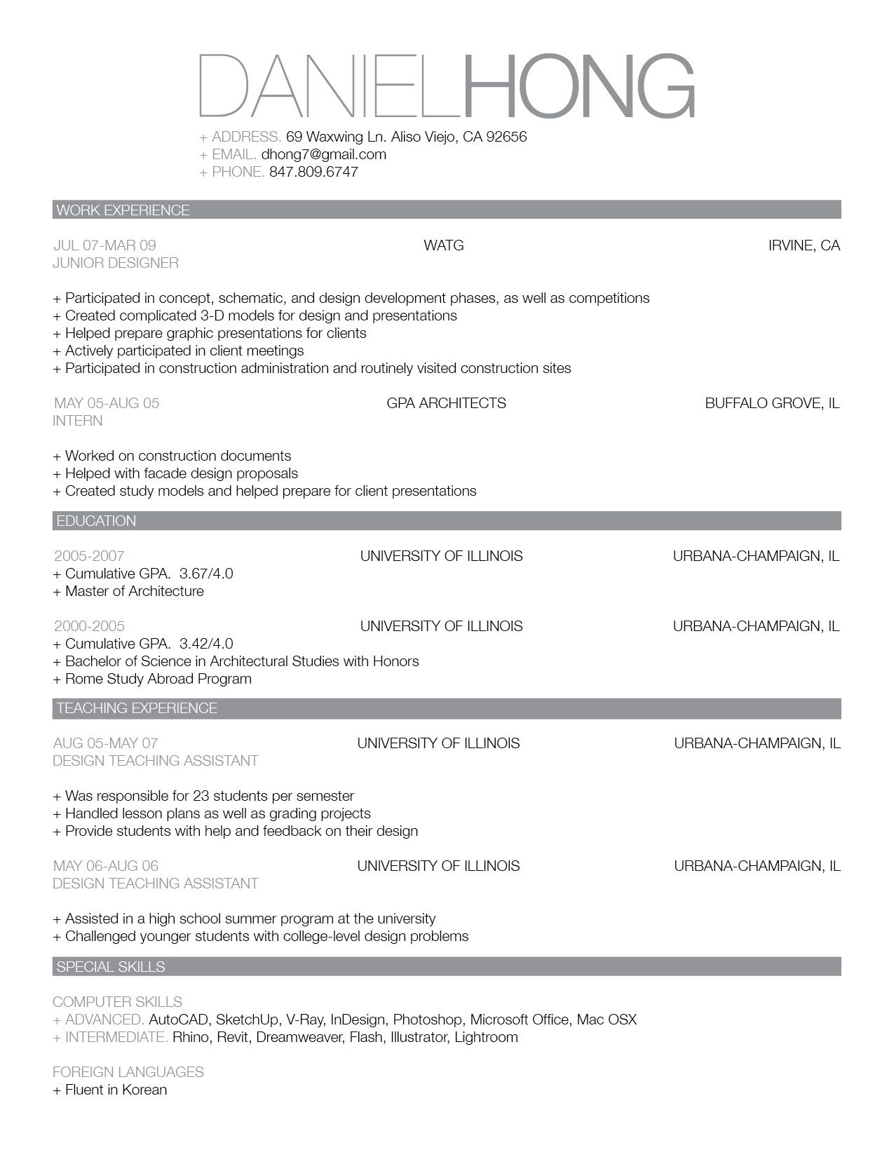 Updated CV and Work Sample