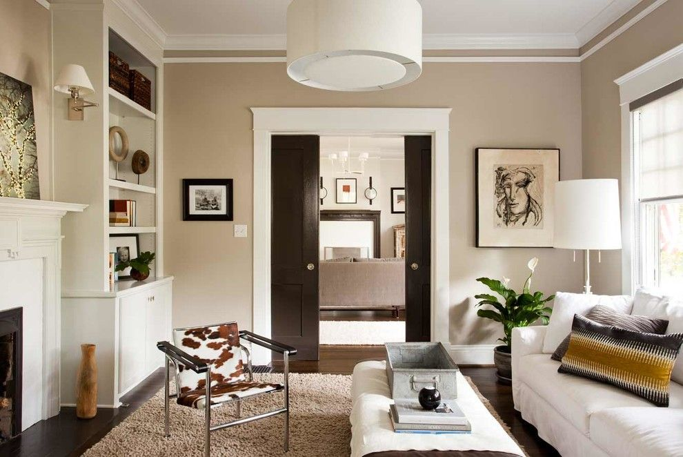 Kilim Beige Sherwin Williams For A Contemporary Living Room With A Crown Molding And Neutral Living Room Design Beige Living Rooms Paint Colors For Living Room