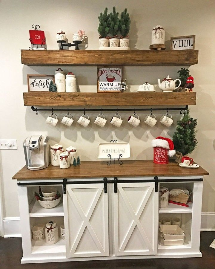 "Ana White on Instagram: ""Delight your guests with a DIY Hot Cocoa Bar!  Sideboard and floating shelves built by KNOLLGF - click link in my bio here—>> @anawhitediy…"" #anawhite"