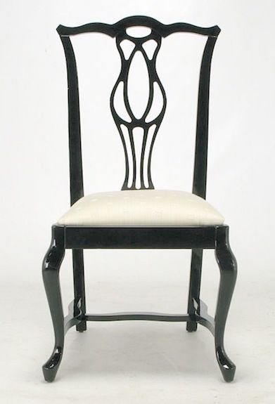 1st Dibs Italian Black Lacquer Chinese Chippendale Dining Chair (1)