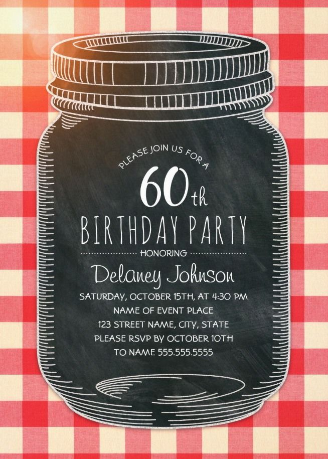 Picnic 60th Birthday Invitations