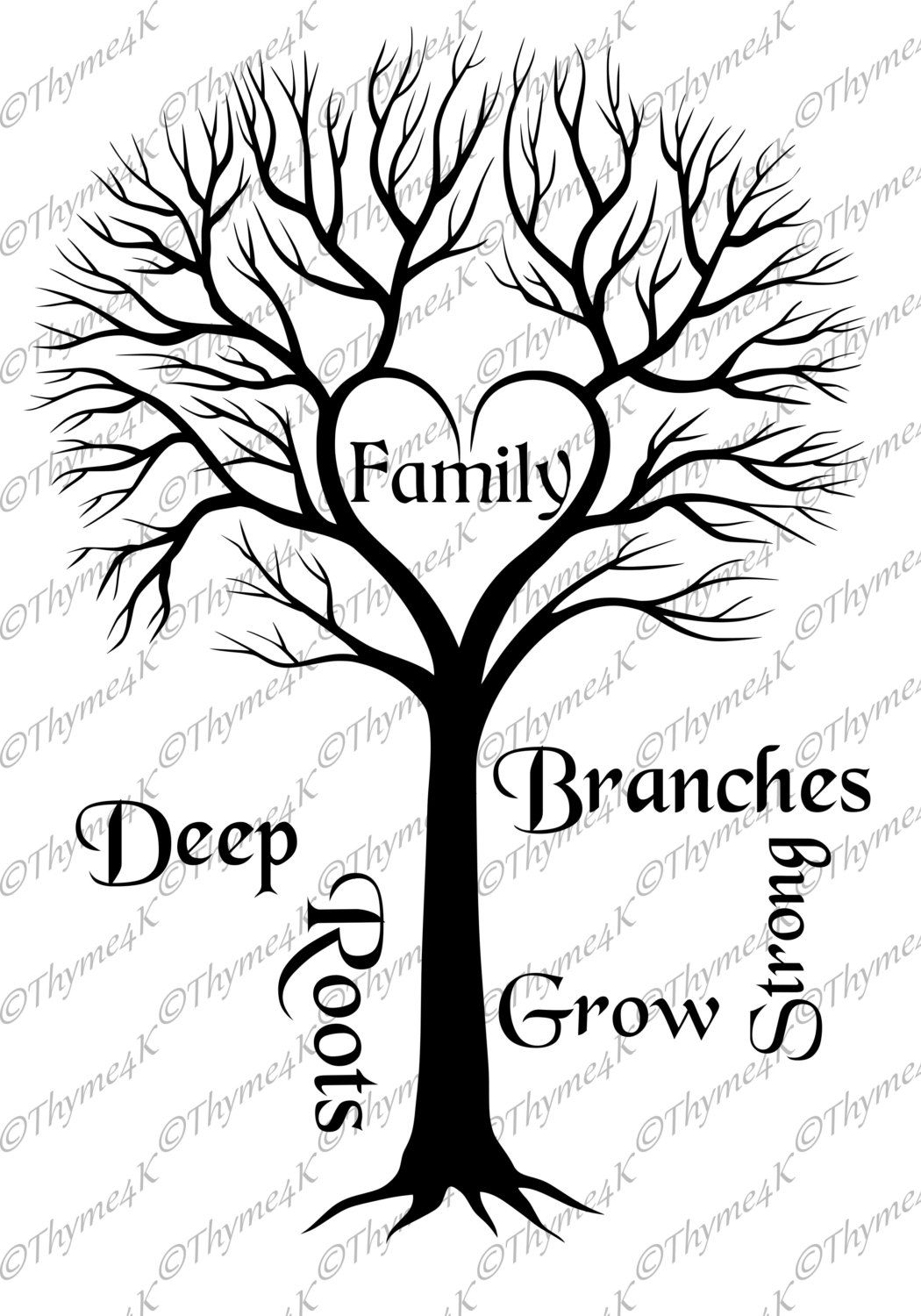 Cutting File Svg Family Tree Deep Roots By Thyme4k On Etsy