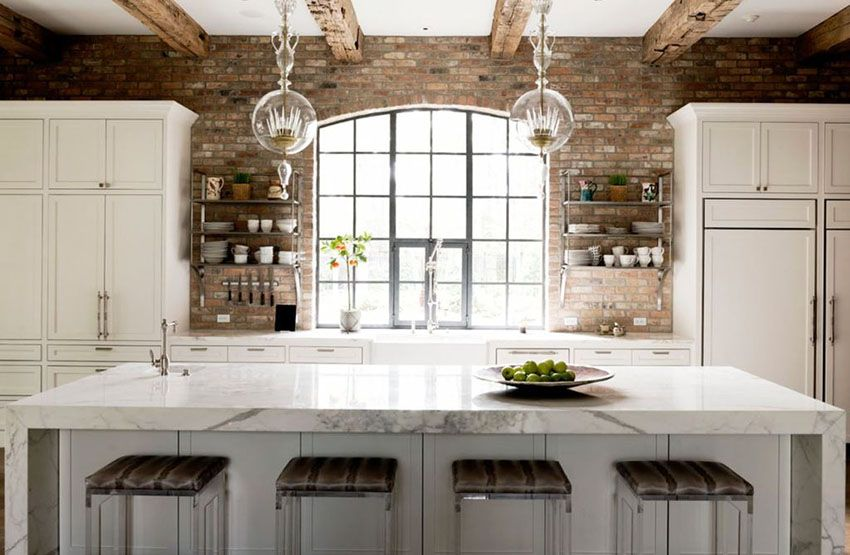 Cost Of Marble Countertops Exposed Brick Kitchen Brick Wall