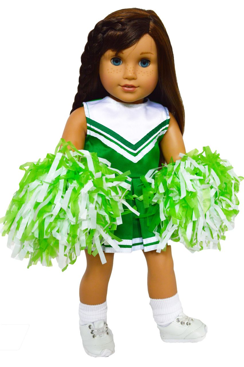 My Brittany's Green and White Cheerleader Outfit for American Girl Dolls- 18 Inch Doll Clothes #18inchcheerleaderclothes