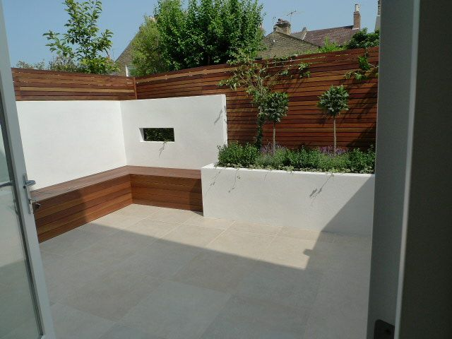 Paving Hardwood Privacy Screen Trellis Fixed Storage Bench Garden Design London Listed In Rendered Wall Designs