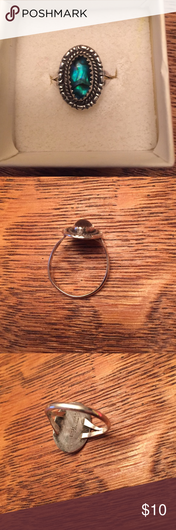 Sterling and Blue Stone Ring Approx. size 9 1/2; bought at a local art fair Jewelry Rings