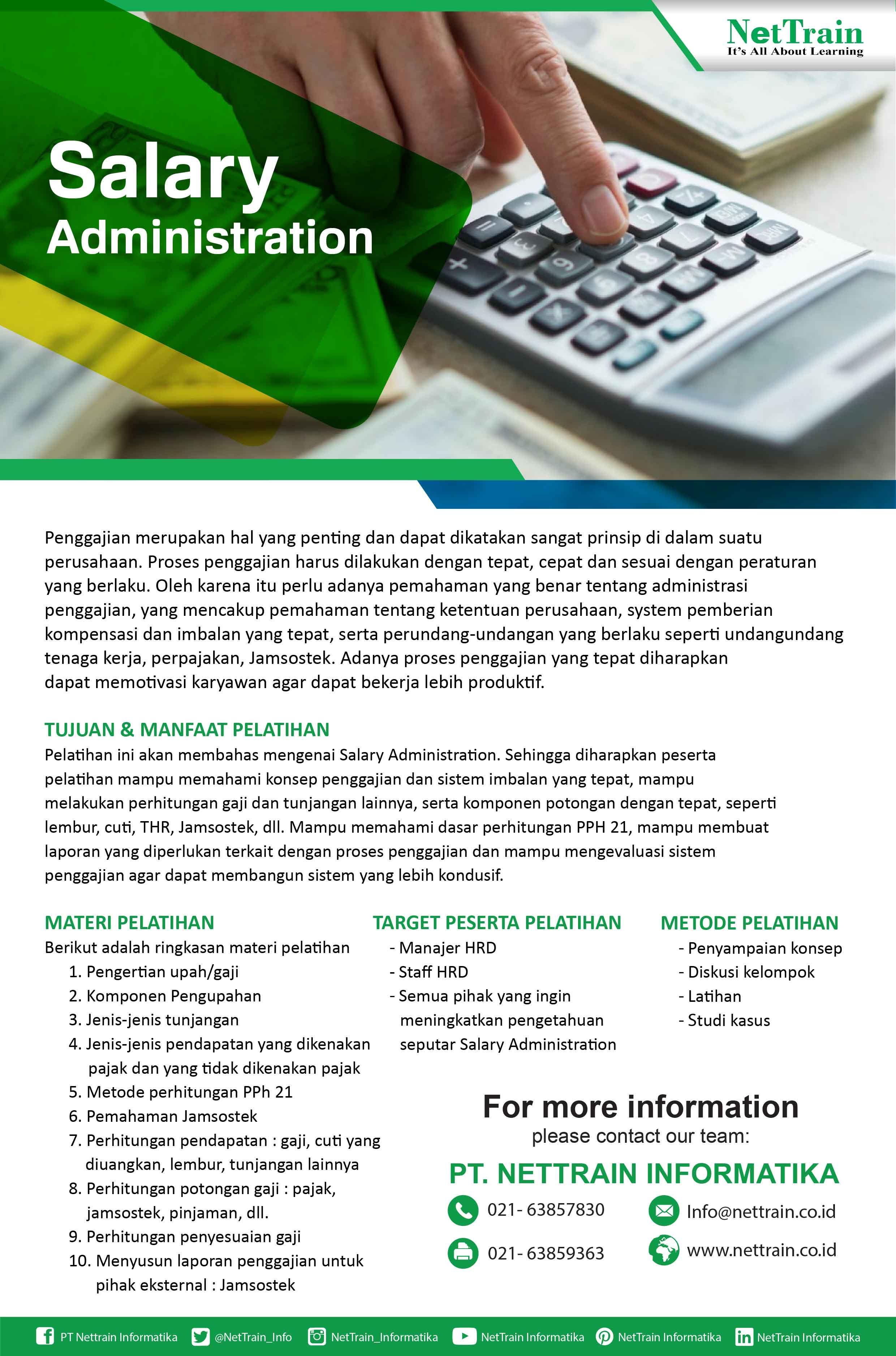 Sallary Administration Training Proses Penggajian Harus Dilakukan Software Faktur Pajak Plustek Management