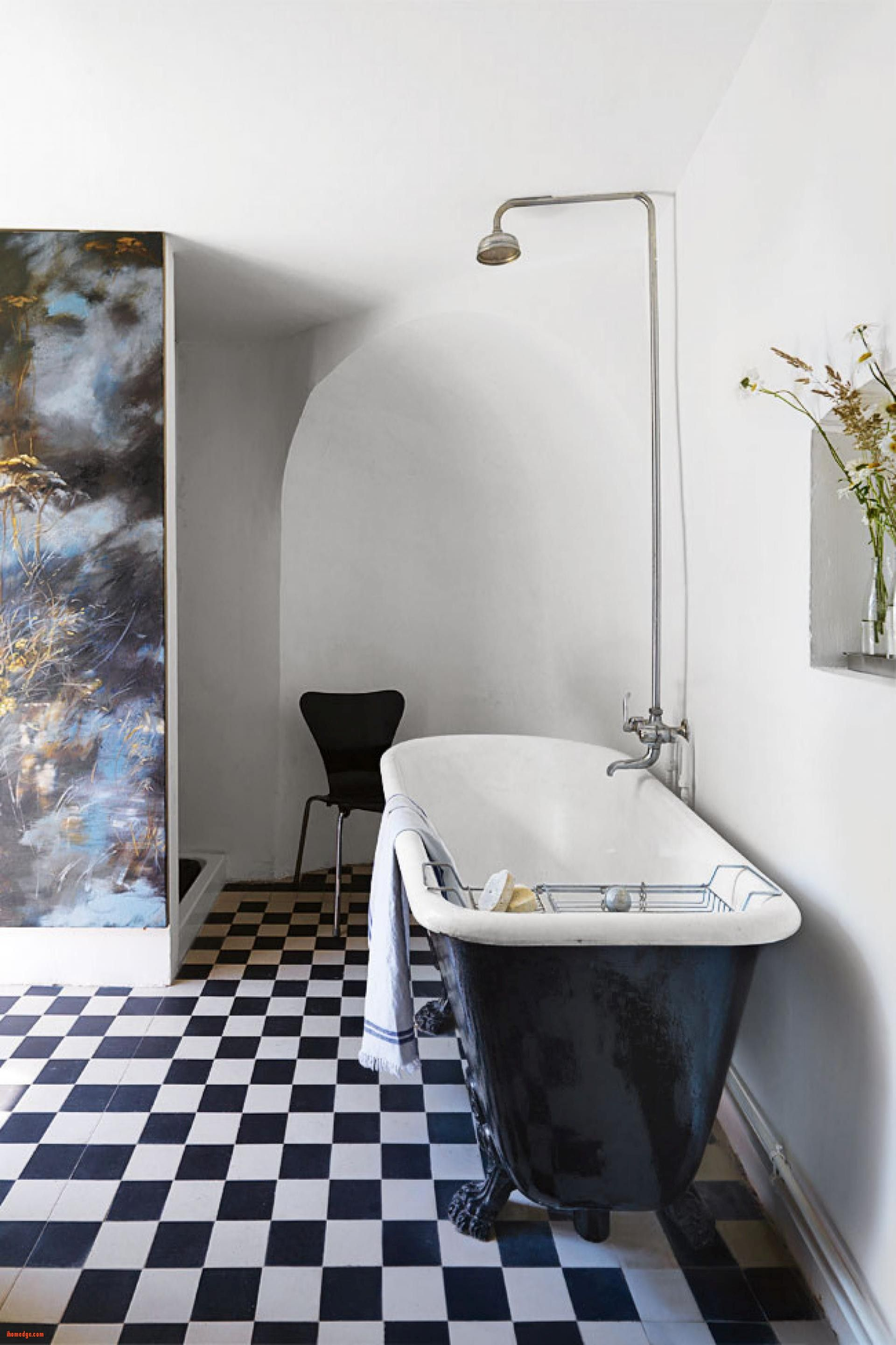 good Inspirational Bathroom In French bathroom black and white bath tub checkered floor french chateau