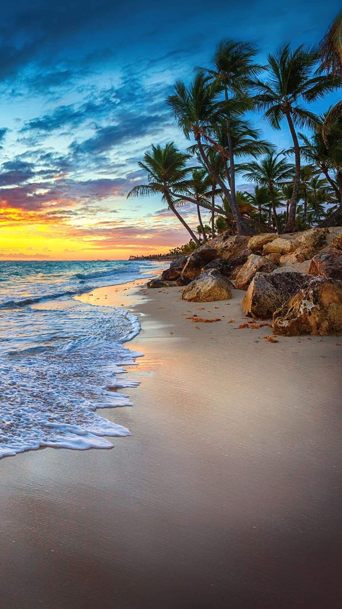 sunset beach natural world beauty