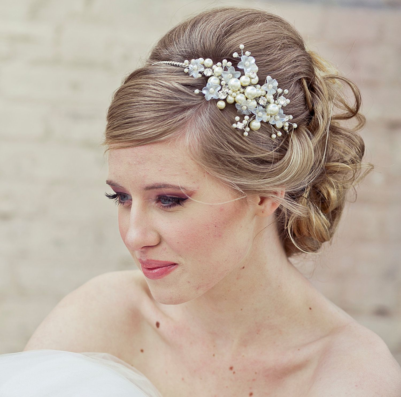 wedding hair, rhinestone tiara with flowers and ivory pearls