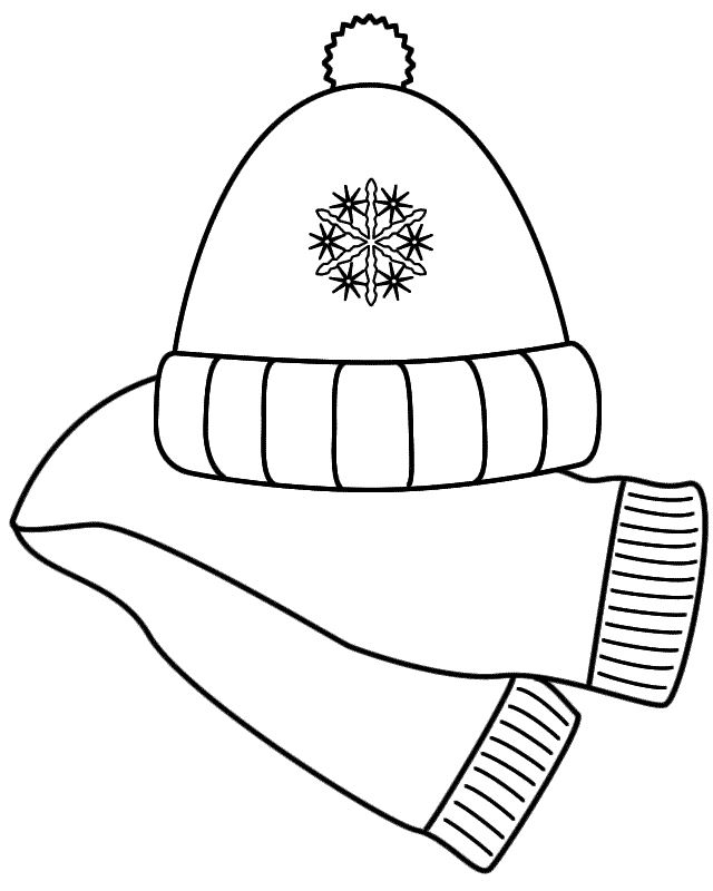 Scarf And Winter Hat Coloring Page Coloring Home