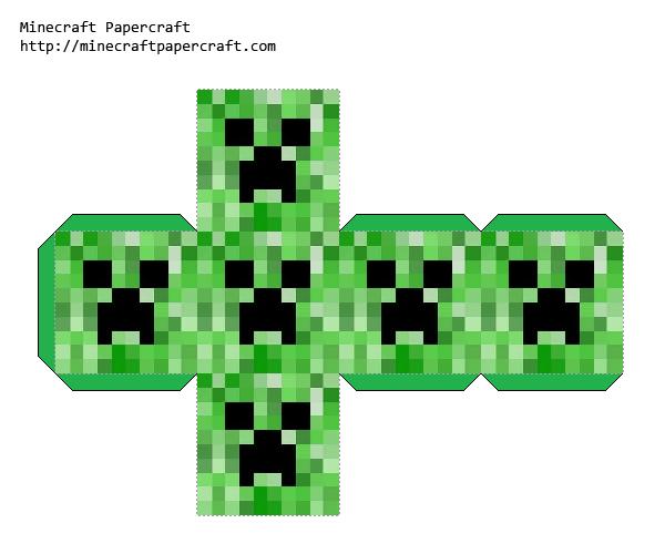 Papercraft Face Block Creeper Minecraft Blocks Minecraft Printables Minecraft Crafts
