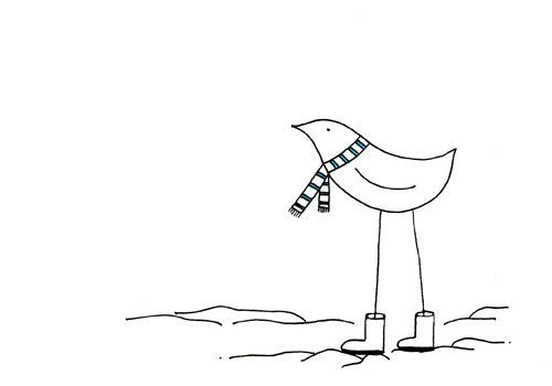whimsical winter bird drawing cute simple art print walking in a