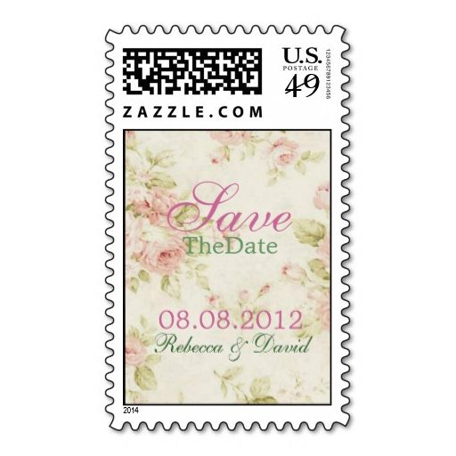 Elegant Pink Rose Floral Vintage Bridal Shower Stamps Wanna Make