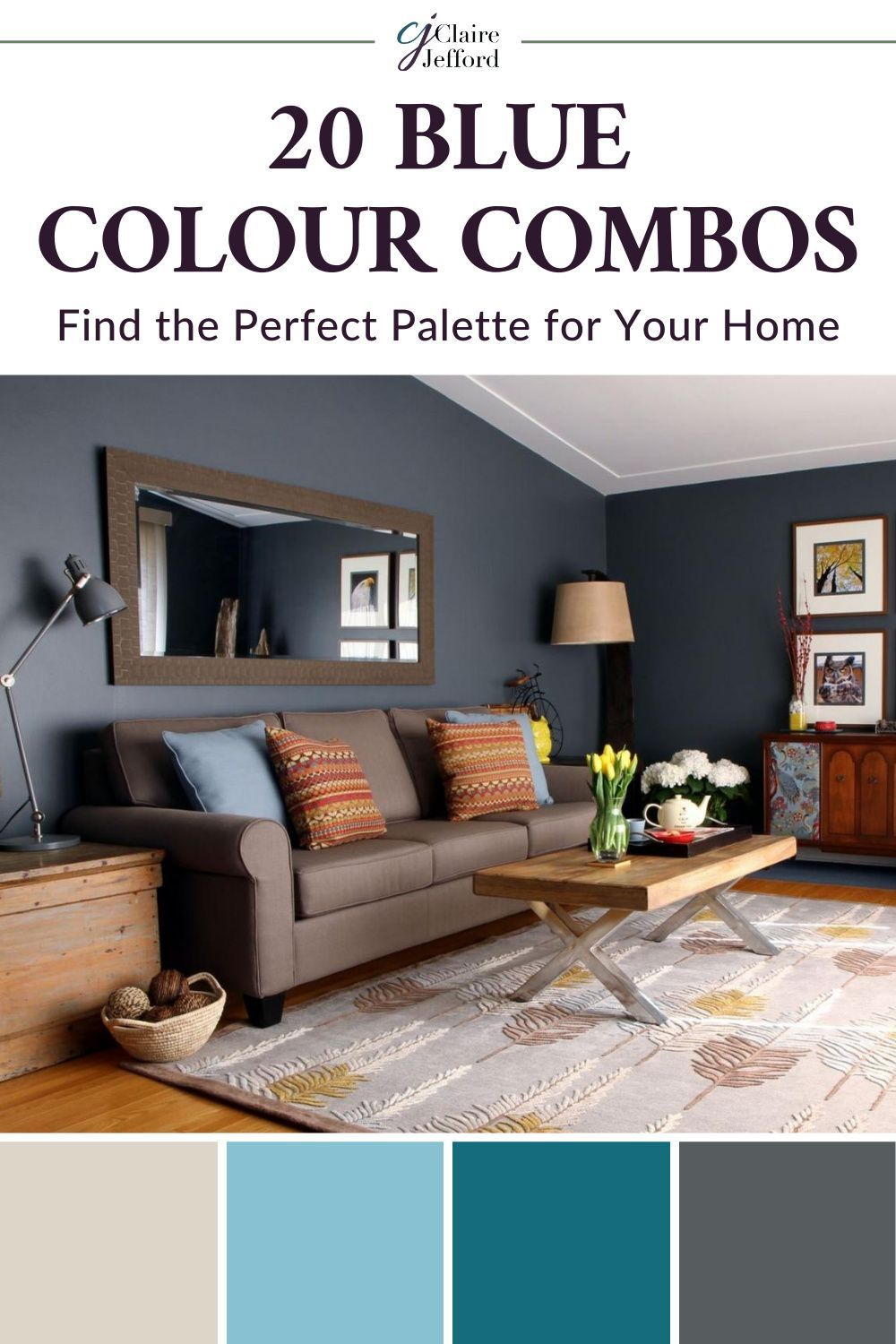 Colour Combinations With Blues Claire Jefford Living Room Color Schemes Bedroom Colors Bedroom Paint Colors Updated living room colors