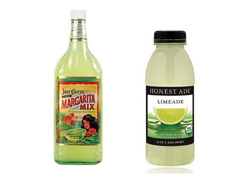 Instead of calorie-laden margarita mixers, use Honest Ade Limeade ($ 30 for a pack of 12). It's sweetened with real cane sugar and has only 50 calories. Mix half an individual-sized bottle with 1.5 ounces of tequila and a splash of club soda. Love this site for other healthy and delicious substitutes!