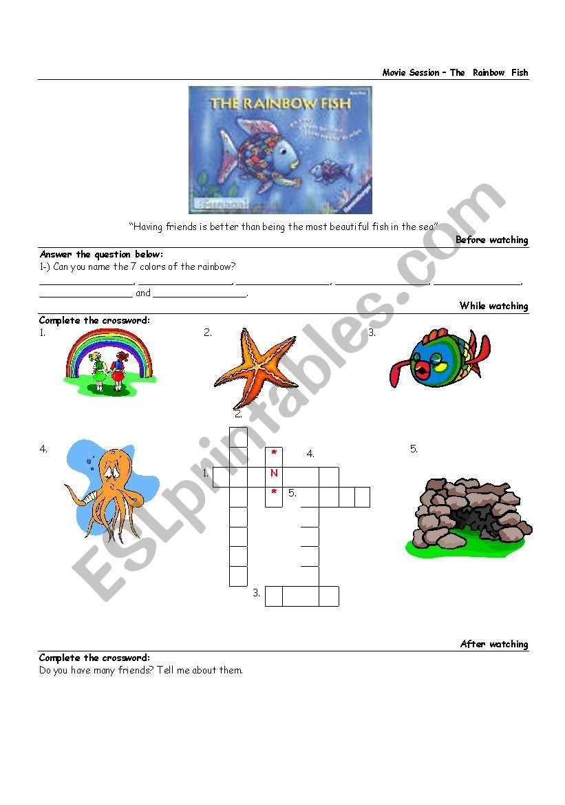 Rainbow Fish Printable Worksheets the Rainbow Fish Movie