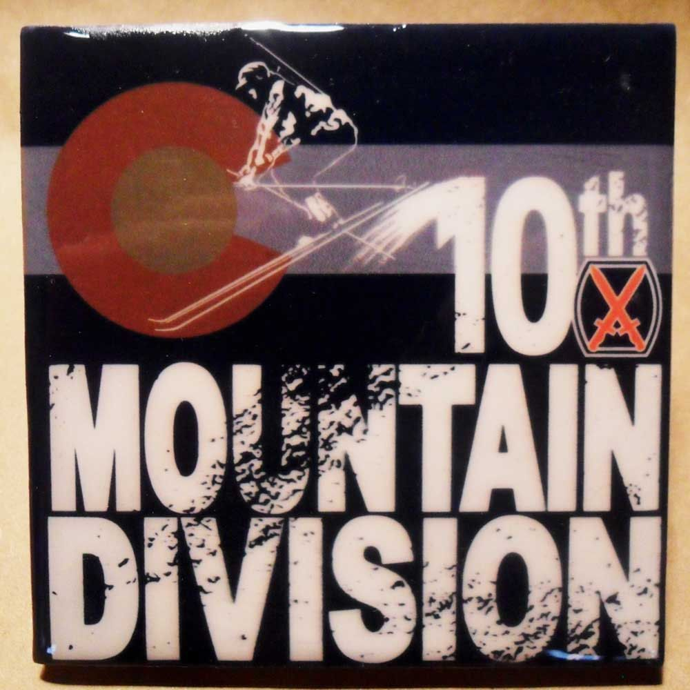 Tenth Mountain Division tile coaster / Decorative tile / Ski art / Colorado flag / Military history by Historyonashirt on Etsy