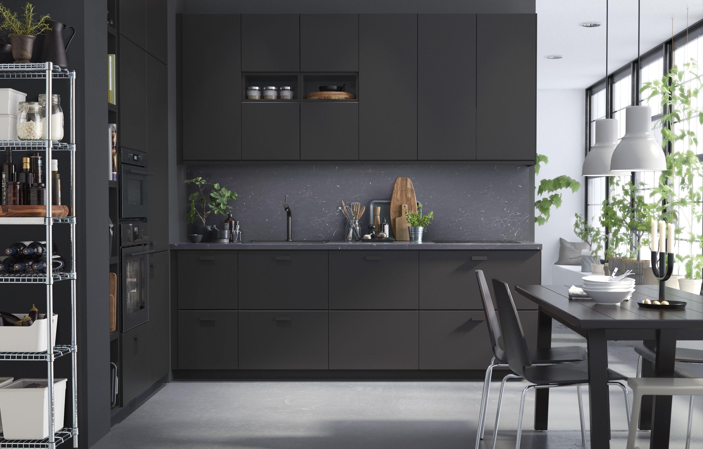 Interior Black Matte Kitchen Cabinet Set Oven Built In Open Shelves Wall Decorative Plant Woo Kitchen Cabinet Remodel Black Ikea Kitchen Kitchen Design Trends