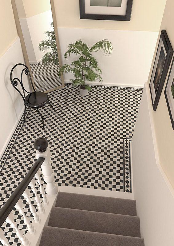 Victorian White Black Checkboard Mosaic Hallway Flooring Victorian Tiles Mosaic Flooring