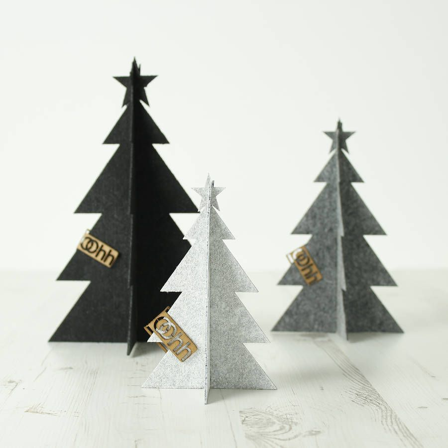Recycled Plastic Christmas Tree: Black 3D Eco Felt Christmas Tree