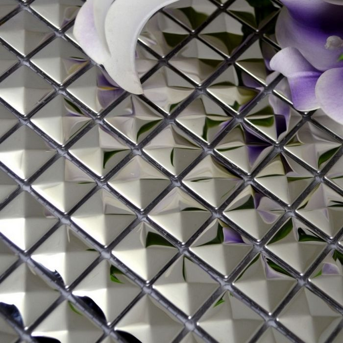 3d Convex Design Pyramid Pattern 20mm Square Stainless Steel Metal Mosaic Tile For Kitchen Backsplash Tiles Shower Tile Stainless Backsplash Metal Mosaic Tiles