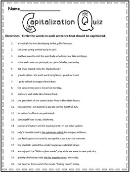 Free Capitalization Practice | FREEBIES on TPT! | 3rd grade writing ...