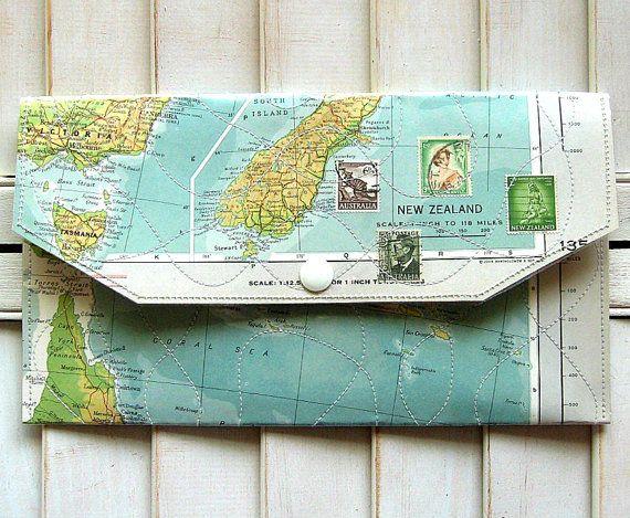 map + vinyl purse