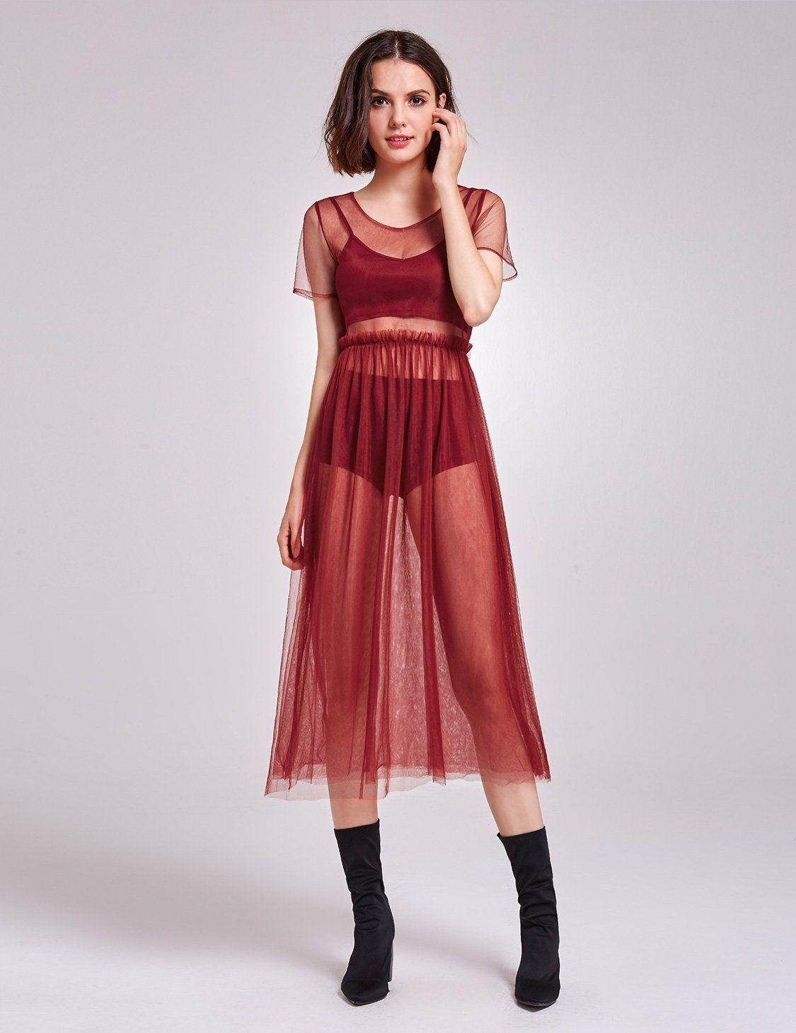 Alisa Pan Short Sleeve Sheer Layer Dress in 2020 Dresses