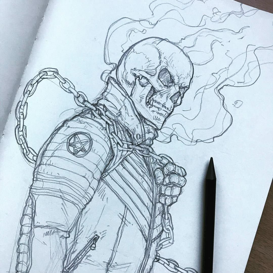Ghost Rider Finished Skull Drawing Marvel Comics Boceto