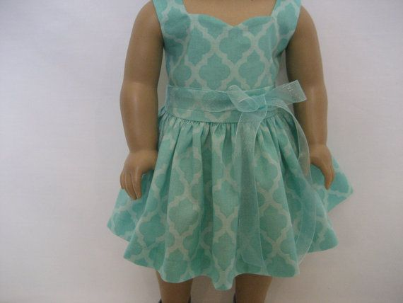 American Girl Doll Clothes   Seafoam Green Dress by lotsofdots