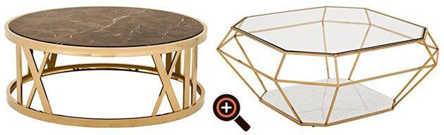 Designer Couchtisch Aus Glas Metall Modern In Silber Gold Weiss