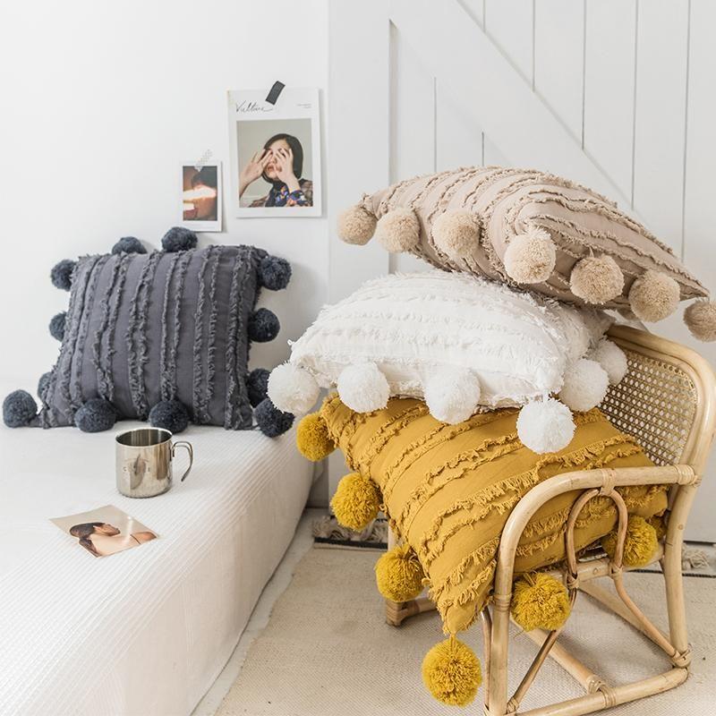 Pom Pom Reverie Pillows - White