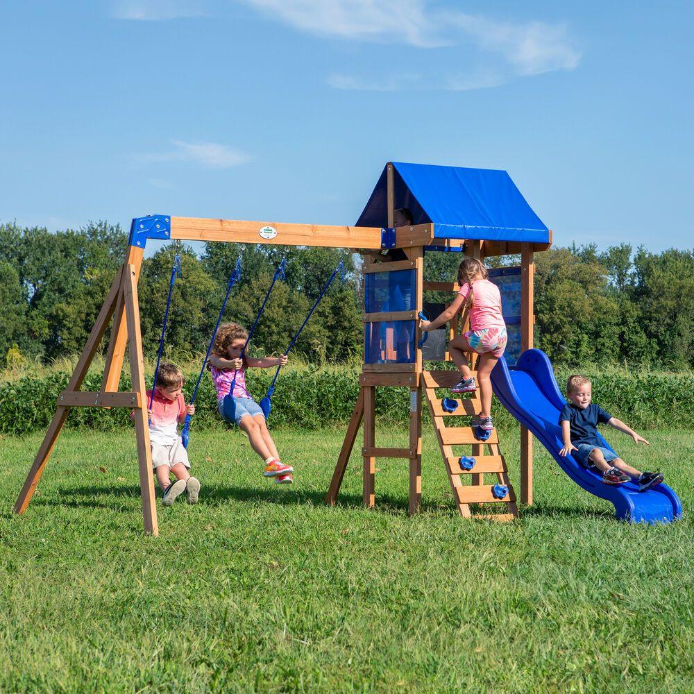 Kids Wooden Swing Set Outdoor Cedar Backyard Game Rockwall Ladder Slide Play Unbranded Wooden Swing Set Swing Set Cedar Swing Sets