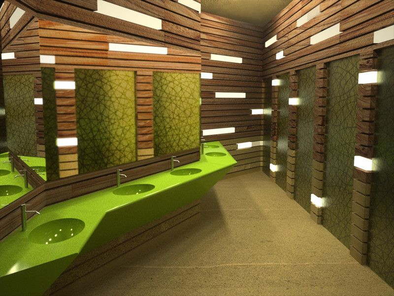 Public or building bathroom quirky and pleasant for Washroom interior design